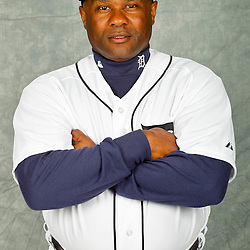 February 28, 2012; Lakeland, FL, USA; Detroit Tigers batting coach Lloyd McClendon (8) poses for photo day in the rec room at the Detroit Tigers Headquarters.  Mandatory Credit: Derick E. Hingle-US PRESSWIRE