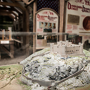 A model of the comleted castle as part of an exhibit at Harlech Castle in Harlech, Gwynedd, on the northwest coast of Wales next to the Irish Sea. The castle was built by Edward I in the closing decades of the 13th century as one of several castles designed to consolidate his conquest of Wales.