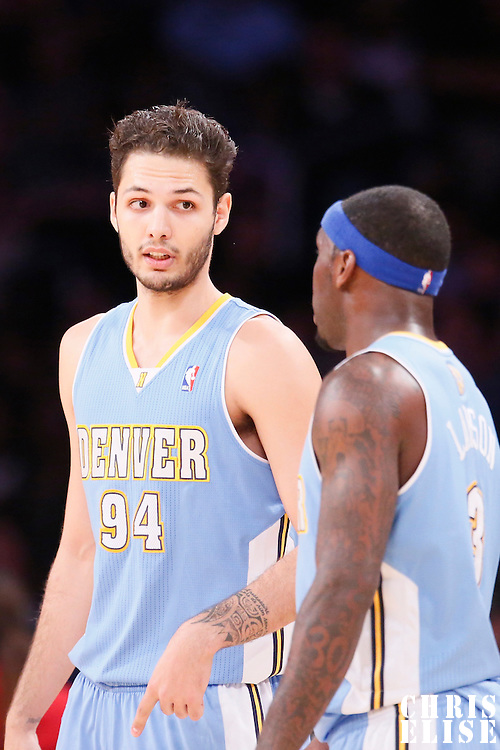 05 January 2014: Denver Nuggets shooting guard Evan Fournier (94) talks to Denver Nuggets point guard Ty Lawson (3) during the Denver Nuggets 137-115 victory over the Los Angeles Lakers at the Staples Center, Los Angeles, California, USA.
