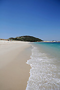 Rodas Beach (Praia das Rodas) in Cies Islands (Islas C&Igrave;es), a paradisiac archipelago and Natural Reserve since 1908, off the coast of Pontevedra, in Galicia, Spain. <br /> <br /> In the year 2007, the British newspaper The Guardian chose this beach, in the island of Monteagudo, as the &quot;most beautiful beach of the world&quot;.