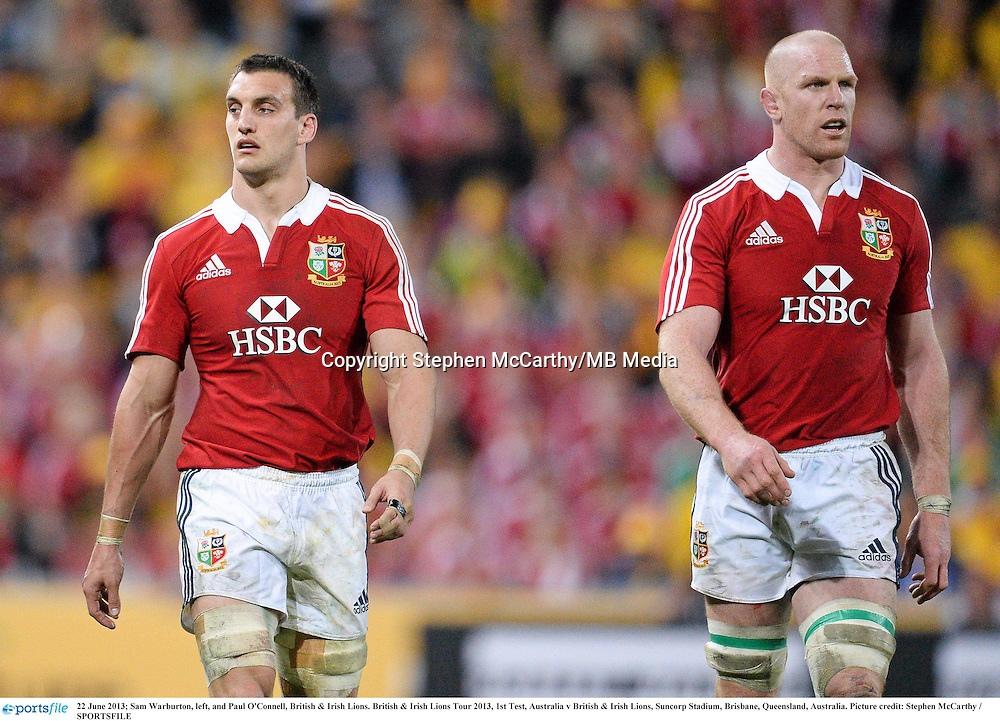 22 June 2013; Sam Warburton, left, and Paul O'Connell, British & Irish Lions. British & Irish Lions Tour 2013, 1st Test, Australia v British & Irish Lions, Suncorp Stadium, Brisbane, Queensland, Australia. Picture credit: Stephen McCarthy / SPORTSFILE