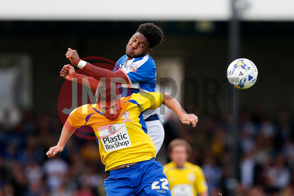 Ellis Harrison of Bristol Rovers and Adam Buxton of Accrington Stanley compete in the air - Mandatory byline: Rogan Thomson/JMP - 07966 386802 - 12/09/2015 - FOOTBALL - Memorial Stadium - Bristol, England - Bristol Rovers v Accrington Stanley - Sky Bet League 2.