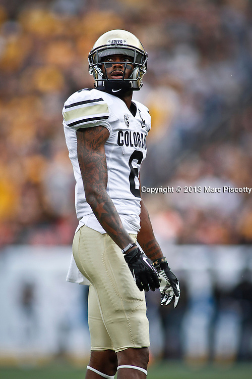SHOT 9/1/13 4:41:56 PM - Colorado's Paul Richardson #6 looks up for a view of a replay of a play against Colorado State during the 2013 Rocky Mountain Showdown at Sports Authority Field at MiIe HIgh Stadium in Denver, Co. Colorado won the annual in-state rivalry 41-27. (Photo by Marc Piscotty / © 2013)