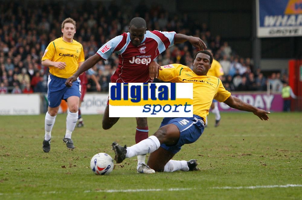 Photo: Steve Bond.<br />Scunthorpe United v Nottingham Forest. Coca Cola League 1. 10/03/2007. Wes Morgan (right) fouls Cleveland Taylor (left)