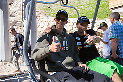 Jure Sinkovec and Robert Kranjec at media day of Slovenian Ski jumping team during construction of two new ski jumping hills HS 135 and HS 105, on September 18, 2012 in Planica, Slovenia. (Photo By Vid Ponikvar / Sportida)