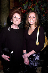 Left to right, LADY ELIZABETH ANSON and her daughter MISS FIONA SHAKERLEY at a party in London on 15th November 2000.OJD 57