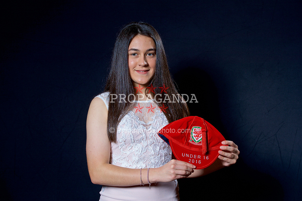 NEWPORT, WALES - Saturday, May 27, 2017: Meesha Dudley-Jones with her Under-16 Wales cap at the Celtic Manor Resort. (Pic by David Rawcliffe/Propaganda)
