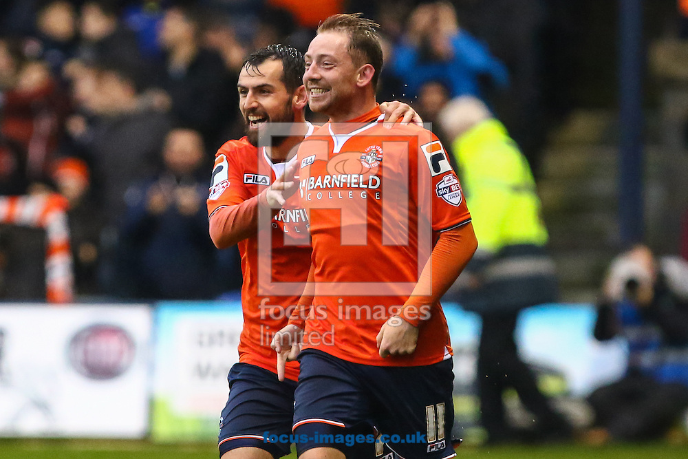 Danny Green of Luton Town (right) celebrates scoring the opening goal against Barnet with Alex Lawless of Luton Town (left) during the Sky Bet League 2 match at Kenilworth Road, Luton<br /> Picture by David Horn/Focus Images Ltd +44 7545 970036<br /> 14/11/2015