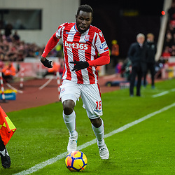 Stoke City forward Mame Biram Diouf (18) during the Premier League match between Stoke City and Liverpool<br /> (c) John Baguley | SportPix.org.uk