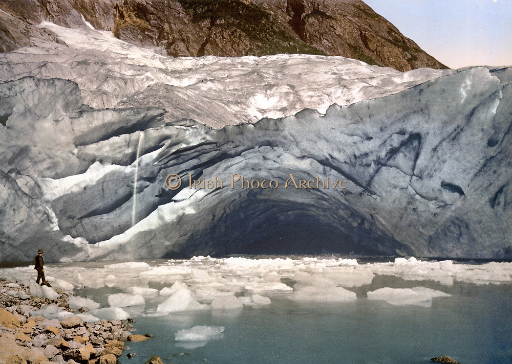 Ice grotto in Suphellebrae, Sognefjord, Norway, the lowest glacier in Norway, c1890-1900. Photochrome Glaciology Landscape