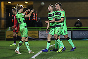 Forest Green Rovers Christian Doidge(9) scores a goal 2-0 and celebrates during the EFL Sky Bet League 2 match between Forest Green Rovers and Grimsby Town FC at the New Lawn, Forest Green, United Kingdom on 22 January 2019.
