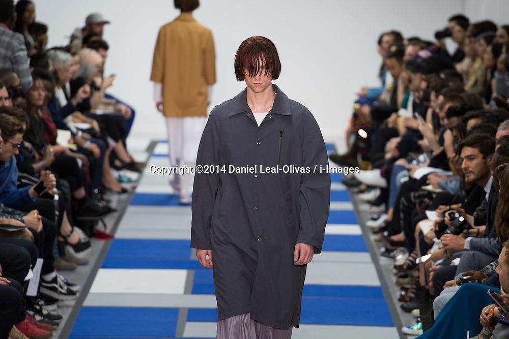 Image ©Licensed to i-Images Picture Agency. 15/06/2014. London, United Kingdom. London Collections: Men. A model presents a creation by Agi & Sam during the first day of the Spring/Summer 2015 \'London Collections: Men\' fashion event in London. The Old Shorting Office. Picture by Daniel Leal-Olivas / i-Images
