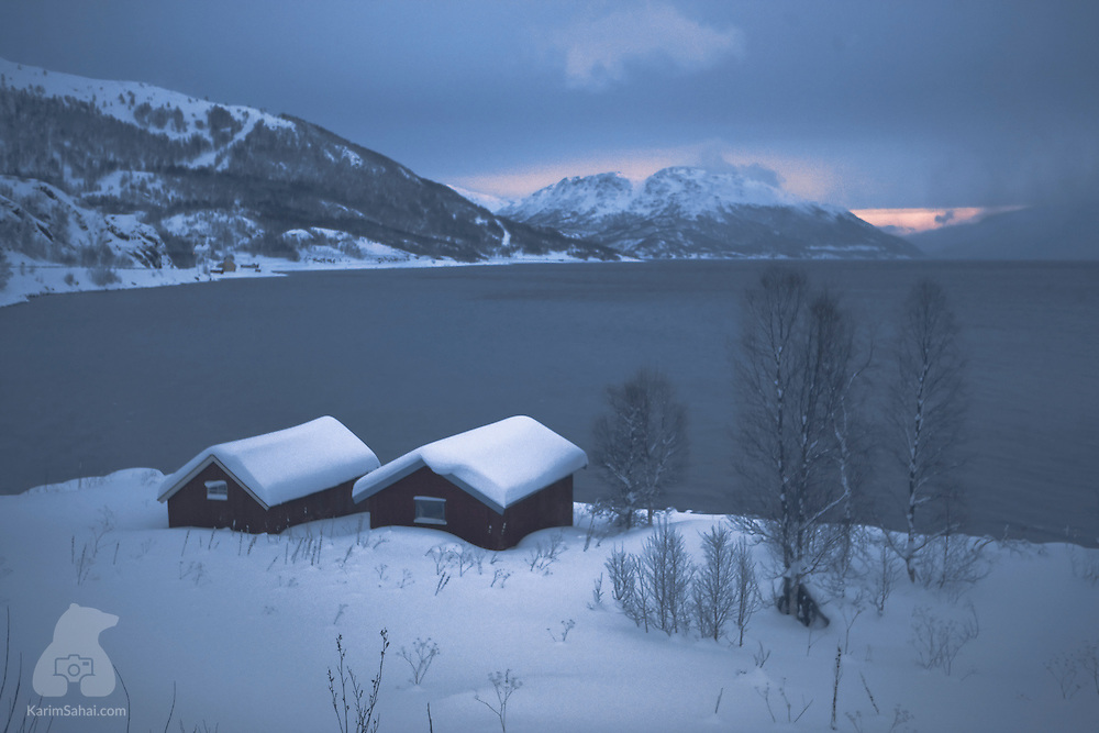 Fishing sheds (rorbuer) near Langfjordbotn, near Alta in the far north region of Finnmark, in Norway.