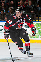 KELOWNA, CANADA - MARCH 1: Jesse Gabrielle #13 of the Prince George Cougars skates against the Kelowna Rockets on MARCH 1, 2017 at Prospera Place in Kelowna, British Columbia, Canada.  (Photo by Marissa Baecker/Shoot the Breeze)  *** Local Caption ***