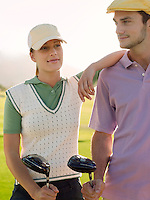 Two young golfers on court