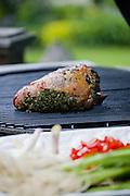 Seasoned meat on a grill.