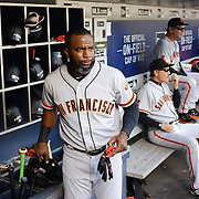 NEW YORK, NEW YORK - APRIL 30:  Denard Span #2 of the San Francisco Giants in the dugout preparing to bat during the New York Mets Vs San Francisco Giants MLB regular season game at Citi Field on April 30, 2016 in New York City. (Photo by Tim Clayton/Corbis via Getty Images)