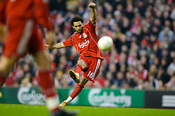 LIVERPOOL, ENGLAND - Saturday, January 26, 2008: Liverpool's Jermaine Pennant takes a free-kick against Havant and Waterlooville during the FA Cup 4th Round match at Anfield. (Photo by David Rawcliffe/Propaganda)