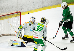 Janez Orehek of SZ Olimpija vs Mathieu Corbeil of Lustenau during Ice Hockey match between HK SZ Olimpija and EHC Alge Elastic Lustenau in Semifinal of Alps Hockey League 2018/19, on April 1, 2019, in Arena Tivoli, Ljubljana, Slovenia. Photo by Vid Ponikvar / Sportida