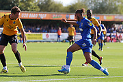 AFC Wimbledon defender Nesta Guinness-Walker (18) dribbling into the box during the EFL Sky Bet League 1 match between AFC Wimbledon and Bristol Rovers at the Cherry Red Records Stadium, Kingston, England on 21 September 2019.