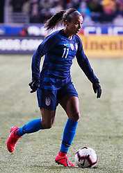 February 28, 2019 - Chester, United States - Mallory Pugh  of The United States on the ball .during the She Believes Cup football match between The United States and Japan at Talen Energy Stadium on February 27, 2019 in Chester, Pennsylvania, United States. (Credit Image: © Action Foto Sport/NurPhoto via ZUMA Press)