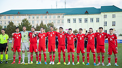 ORHEI, MOLDOVA - Friday, October 11, 2019: Wales players line-up to sing the national anthem before the UEFA Under-21 Championship Italy 2019 Qualifying Group 9 match between Moldova and Wales at the Orhei District Sports Complex. L-R captain Jack Evans, goalkeeper Adam Przybek, Brandon Cooper, Cameron Coxe, Benjamin Cabango, Brennan Johnson, goalkeeper George Ratcliffe, Robbie Burton, Rhys Norrington-Davies, Mark Harris, Dylan Levitt. (Pic by Kunjan Malde/Propaganda)