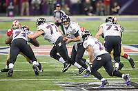 3 February 2013: Quarterback (5) Joe Flacco of the Baltimore Ravens hands the ball off to (27) Ray Rice against the San Francisco 49ers during the first half of the Ravens 34-31 victory over the 49ers in Superbowl XLVII at the Mercedes-Benz Superdome in New Orleans, LA.