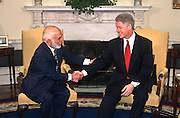 President Clinton meets with King Hussein of Jordan to discuss the Middle East peace process April 1,1997, in the Oval Office of the White House.