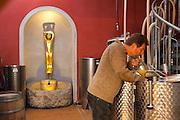 Klaus Zimmerling im Weinkeller, Weingut Klaus Zimmerling, Pillnitz, Sächsische Schweiz, Elbsandsteingebirge, Sachsen, Deutschland | Klaus Zimmerlimg in wine cellar, winery Klaus Zimmerling, Pillnitz, Saxon Switzerland, Saxony, Germany