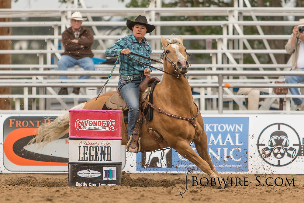 Lisa Mirabito makes her barrel racing run during slack at the Elizabeth Stampede on Sunday, June 3, 2018.