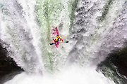 Red Bull athlete Dane Jackson performing in Tomata 1 Waterfalls in Alseseca river in Tlapacoyan Veracruz Mexico, on 13th of January 2015