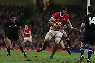 Luke Charteris of Wales. Invesco Perpetual series, autumn international, Wales v New Zealand at the Millennium stadium in Cardiff  on Sat 7th Nov 2009. pic by Andrew Orchard, Andrew Orchard sports photography.  EDITORIAL USE ONLY