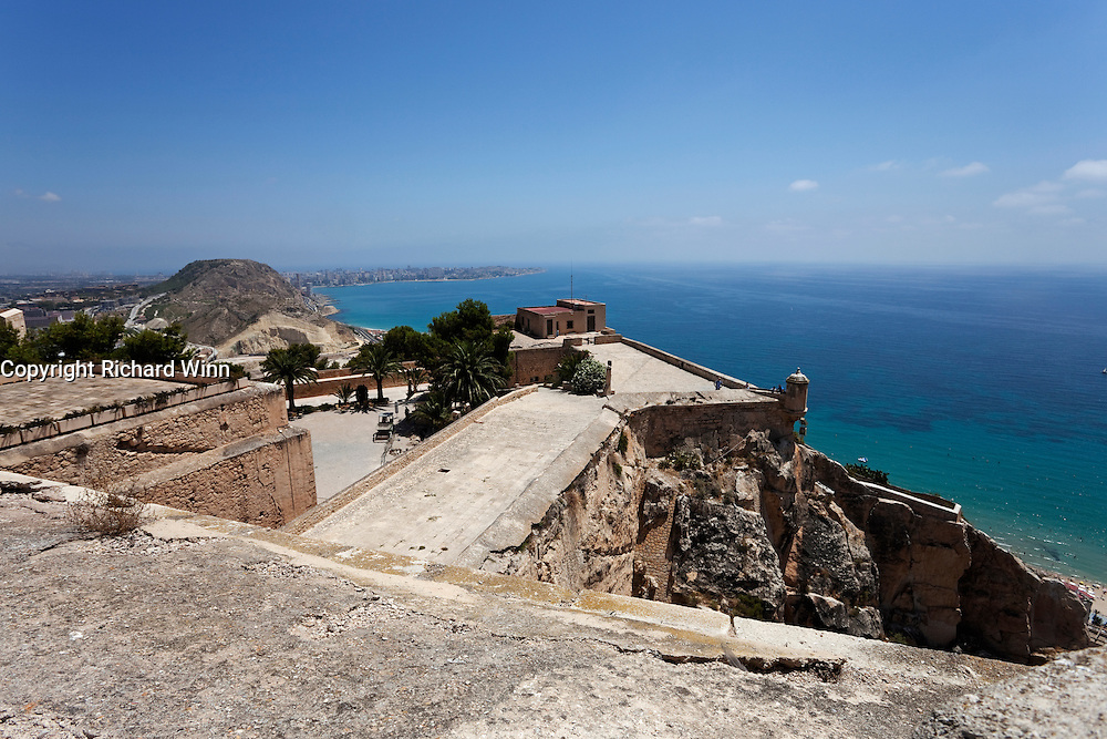 View from the top of Santa Barbara Castle, Alicante, looking northeast across the lower levels.