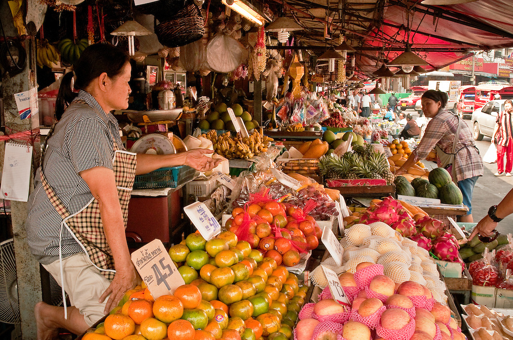 Marketplace near Chinatown and Ping River, Chiang Mai, Thailand.
