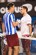 Stanislas Wawrinka of Switzerland celebrates after he has won his way through to his first Grand Slam final, the eighth seed outlasting T. Berdych of the Czech Republic 6-3 6-7(1) 7-6(3) 7-6(4) in a tense four-set semifinal at Rod Laver Arena on Thursday night.<br /> <br /> The Swiss will play either compatriot Roger Federer or top seed Rafael Nadal in the men's singles final on Sunday night after defeating seventh seed Berdych, who was looking to advance to his first major final since losing to Nadal at Wimbledon in 2010.Stanislas Warinka of Switzerland claimed his first berth in the Australian Open finals as he beat Tomas Berdych of the Czech Republic.