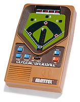 mattel classic baseball handheld game photographed on white
