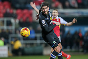Danny Graham (Blackburn Rovers) heads the ball past Richard O'Donnell (Rotherham United) in the Rotherham goal, but it is cleared by the defender during the EFL Sky Bet Championship match between Rotherham United and Blackburn Rovers at the AESSEAL New York Stadium, Rotherham, England on 11 February 2017. Photo by Mark P Doherty.