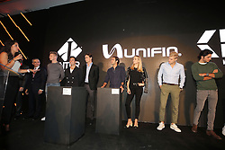 (L to R): Nico Hulkenberg (GER) Sahara Force India F1; Sergio Perez (MEX) Sahara Force India F1; Esteban Gutierrez (MEX) Haas F1 Team; Felipe Nasr (BRA) Sauber F1 Team; Carmen Jorda (ESP) Renault Sport F1 Team Development Driver; Marcus Ericsson (SWE) Sauber F1 Team; and Carlos Sainz Jr (ESP) Scuderia Toro Rosso, at an Inter event.<br /> 26.10.2016. Formula 1 World Championship, Rd 19, Mexican Grand Prix, Mexico City, Mexico, Preparation Day.<br /> Copyright: Moy / XPB Images / action press