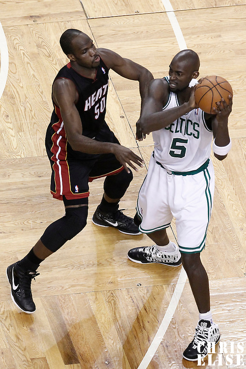 03 June 2012: Miami Heat center Joel Anthony (50) defends on Boston Celtics power forward Kevin Garnett (5) during the first quarter of Game 4 of the Eastern Conference Finals playoff series, Heat at Celtics, at the TD Banknorth Garden, Boston, Massachusetts, USA.