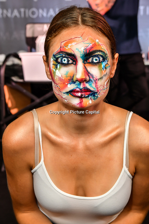 Sketch look - kryolan head of education Gemma Horner demo at IMATS on 18 May 2019,  London, UK.