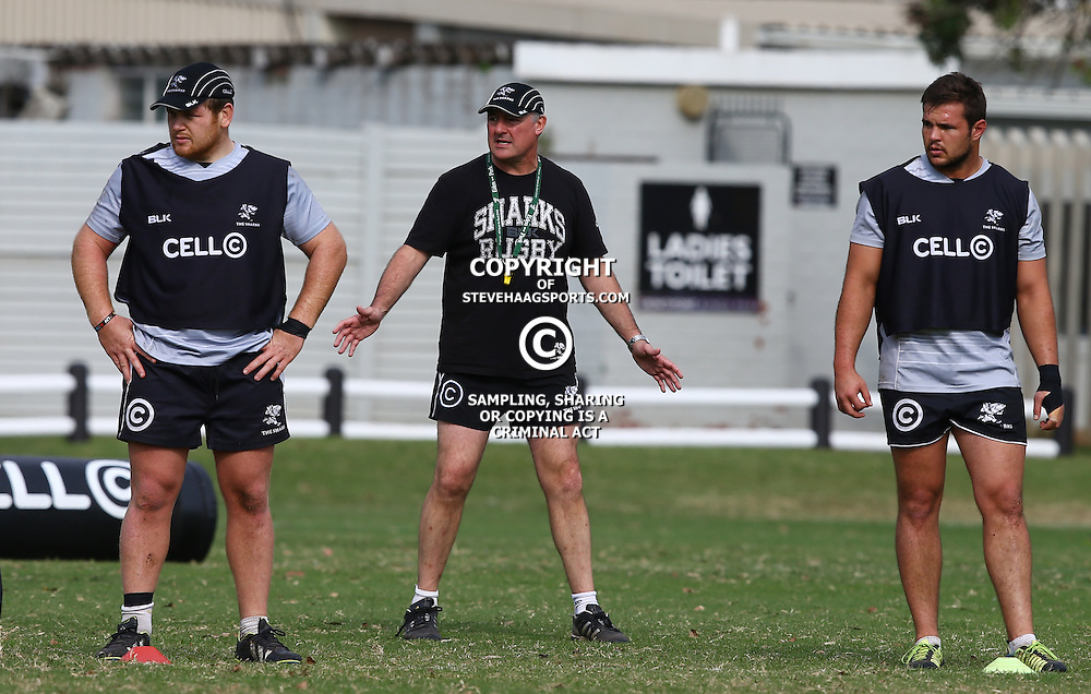 DURBAN, SOUTH AFRICA - JULY 09: Lourens Adriaanse with Gary Gold (Sharks Director of Rugby) and Franco Marais during the Cell C Sharks training session at Growthpoint Kings Park on July 09, 2015 in Durban, South Africa. (Photo by Steve Haag)