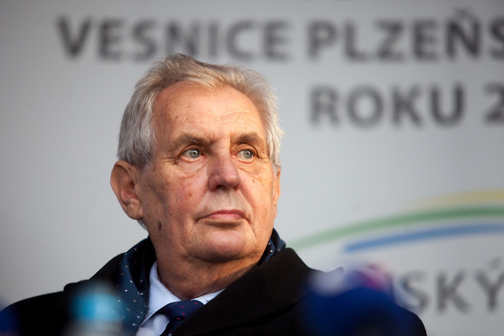 "Portrait of Czech president Milos Zeman's during his public ""meetings with citizens"" at the village of Brasy located in the Pilsen Region. Miloš Zeman (born 28 September 1944) is the third and current President of the Czech Republic, in office since 8 March 2013.  He announced his candidacy for the 2018 presidential elections which will be held in the Czech Republic on 12–13 January."
