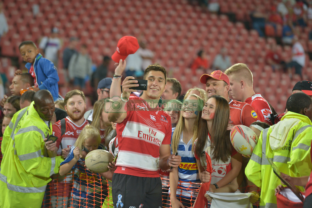 070418 Emirates Airlines Park, Ellis Park, Johannesburg, South Africa. Super Rugby. Lions vs Stormers. Harold Vorster takes a selfie with fans during a meet and greet after the game before embarking on the Lions away tour.<br />Picture: Karen Sandison/African News Agency (ANA)