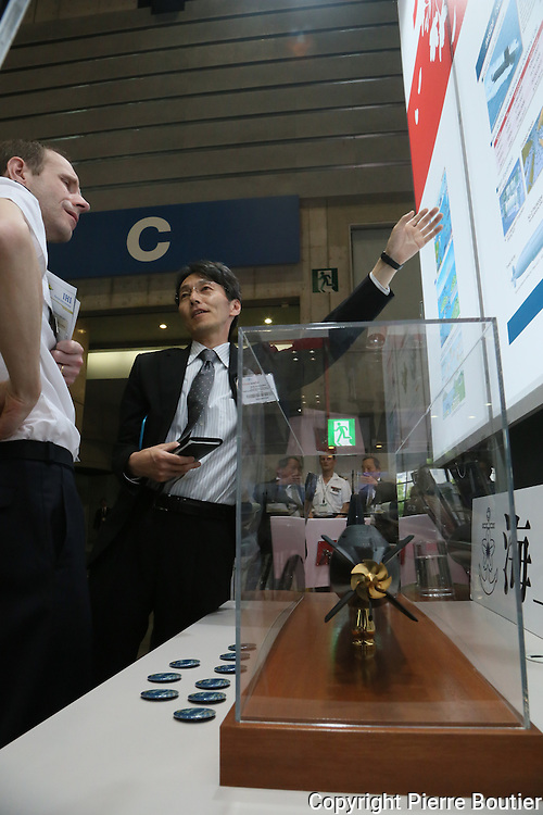 2015 /05 /14  First weapon showroom at Yokohama  call  MAST for  marine military  industries ,  Since Ties with North Korea ,China , Abe Cabnet growing  military expenses and  weapon race and push security law to allow army to participate  at conflicts and wars overseas  .  europe and US also Japan  militaries industries  consortium focuse on submarine guidance system, mine detection, hydroid robot copyright  Pierre Boutier