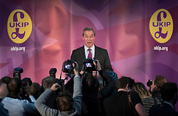 © Licensed to London News Pictures. 28/11/2016. London, UK. Nigel Farage speaks before Paul Nuttall is announced as the new leader of the UK Independence Party (UKIP), at the Emmanuel Centre in Westminster London. Photo credit: Peter Macdiarmid/LNP