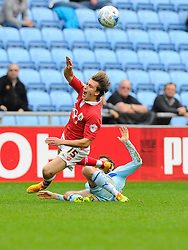 Bristol City's Luke Freeman is fouled by Coventry City's James O'Brien  - Photo mandatory by-line: Joe Meredith/JMP - Mobile: 07966 386802 - 18/10/2014 - SPORT - Football - Coventry - Ricoh Arena - Bristol City v Coventry City - Sky Bet League One