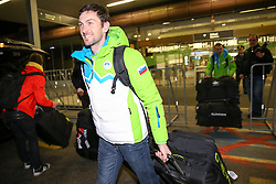Jakov Fak at reception of Slovenia team arrived from Winter Olympic Games Sochi 2014 on February 24, 2014 at Airport Joze Pucnik, Brnik, Slovenia. Photo by Vid Ponikvar / Sportida