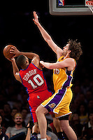 15 January 2010: Guard Eric Gordon of the Los Angeles Clippers shoots the ball while being defended by Pau Gasol of the Los Angeles Lakers during the second half of the Lakers 126-86 victory over the Clippers at the STAPLES Center in Los Angeles, CA.