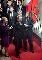 Hillary Clinton, U.S. secretary of state, center, shares a laugh with Javier Solana, the EU's foreign policy chief, right and Benita Ferrero-Waldner, the EU's commissioner of external relations, following their meeting with at the European Council headquarters in Brussels, Friday, March, 6, 2009. (Photo © Jock Fistick)