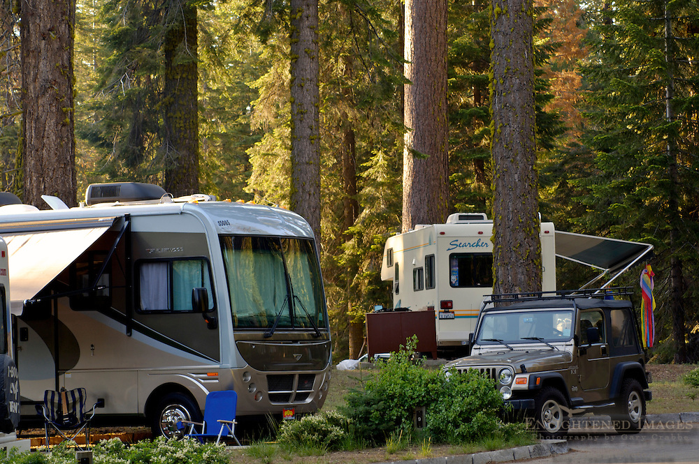 Motorhome Camping campsite at Dorst Creek Campground, Sequoia National Park, California